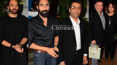Bollywood celebrities came out in style, most in black, at a birthday bash for film producer Manmohan Shetty  held in Mumbai on Friday. (Photo: Viral Bhayani)