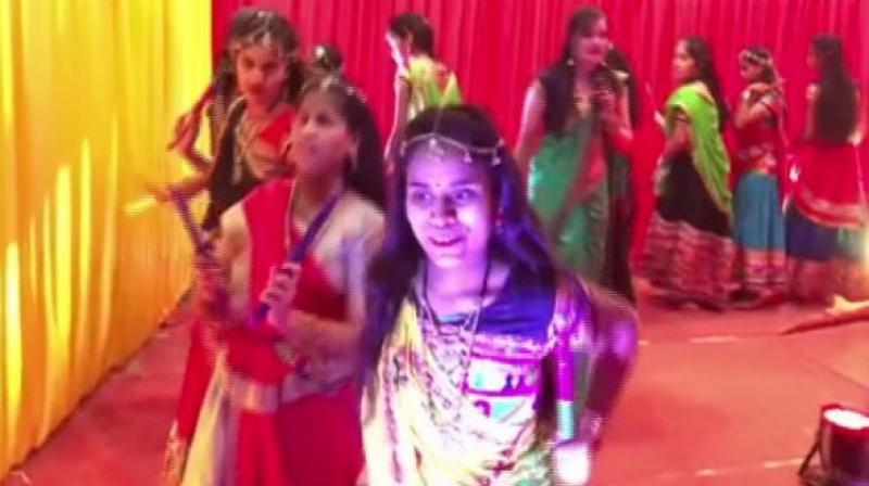 Visually impaired girls in Indore play Garba. (Photo: ANI)