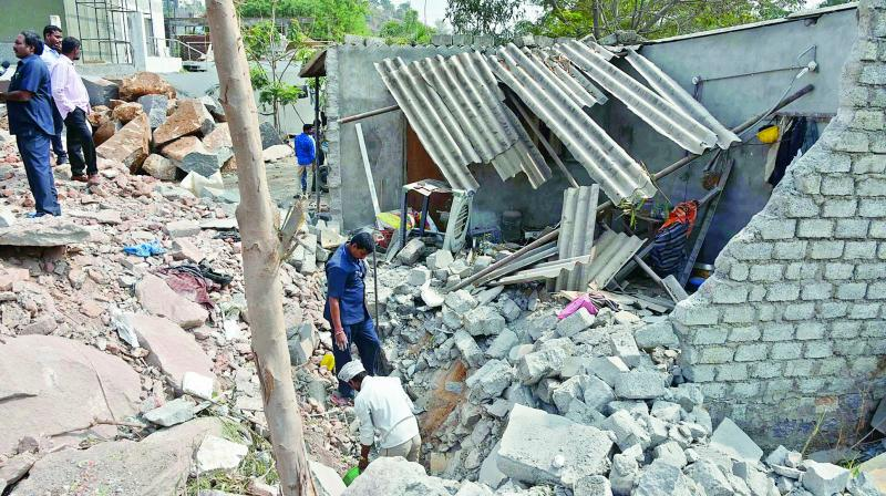 Blasting of rocks done at a vacant plot in Jubilee Hills. (Photo: DC)