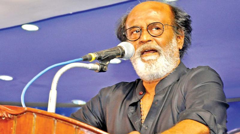 Actor Rajinikanth addresses his fans at Raghavendra Kalyana Mandapam in Chennai on Monday (Photo: DC)