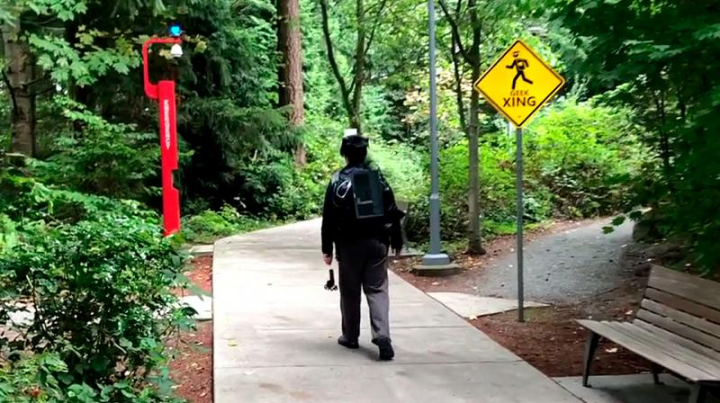 It can also adapt to changes to the route made by the walker, making it possible to transform a simple walk to a grocery store into a walk through Times Square.