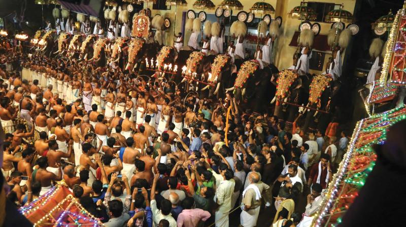 The procession of Sree Sastha being taken out during pooram at Arattupuzha on Saturday night. (Photo: ANUP K VENU)