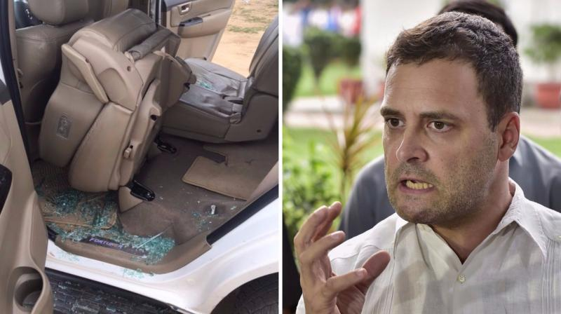 A man threw stones at Rahul Gandhi's car, breaking its rear glass when he on his way from Lal Chowk to the helipad in Dhanera, Gujarat. (Photos: ANI Twitter/PTI)