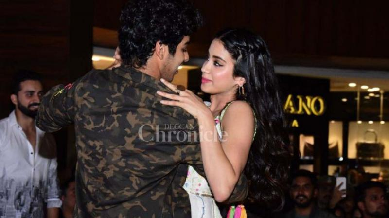 Ishaan Khatter and Janhvi Kapoor at an event.