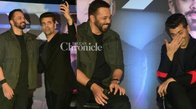 Most popular film directors in the country, Rohit Shetty and Karan Johar, were snapped at a press conference for their TV show 'India's Next Superstars' in Mumbai on Friday. (Photo: Viral Bhayani)