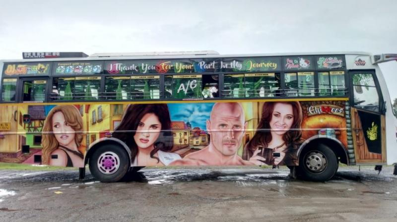 Paintings of prominent pornstars like Mia Khalifa, Johhny Sins, Jordi El Nini, Kortney Kane and Sunny Leone have made a tourist bus from coastal town of Varkala, 45 km from Thiruvananthapuram, an internet sensation. (Photo: DC)