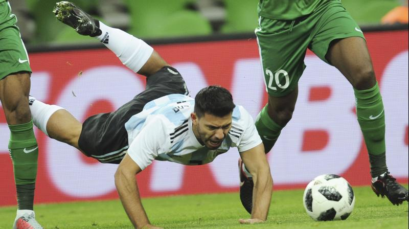 Sergio Aguero scored for Argentina before he was taken to hospital at hal-time (Photo:AP)