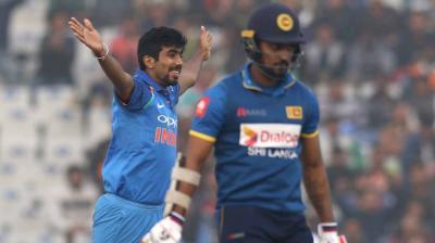 Jasprit Bumrah celebrates after picking up wicket of Danushka Gunathilaka during 2nd ODI in Mohali (Photo:BCCI)