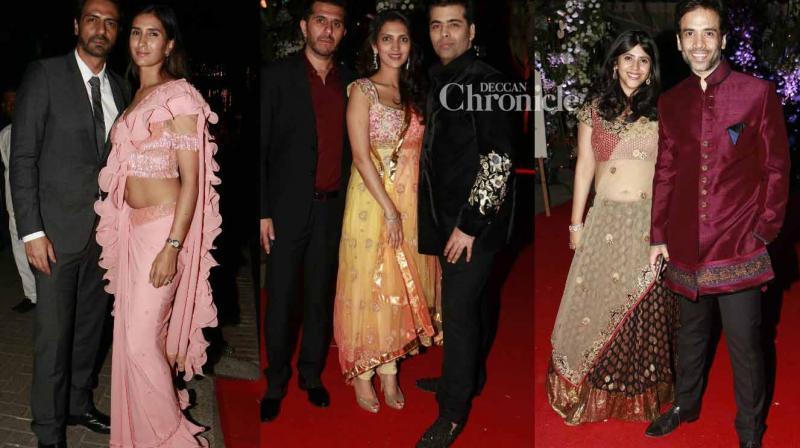 Bollywood Stars Look Their Glamorous Best At Wedding Reception