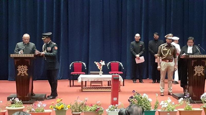 Former bureaucrat Radha Krishna Mathur was sworn-in on Thursday as the first Lieutenant Governor of the strategically located Union Territory of Ladakh, which came into existence after the bifurcation of Jammu and Kashmir. (Photo: Twitter/ PIBHomeAffairs)