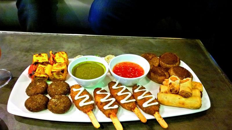 A platter of vegan kababs.