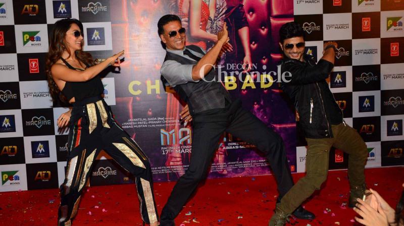 Akshay Kumar lauched a new version of his iconic song 'Tu Cheez Badi Hai Mast', from the film 'Machine' in Mumbai on Monday. (Photo: Viral Bhayani)