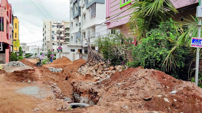 The roads of Sri Ram Nagar that were dug up for laying drainage lines.