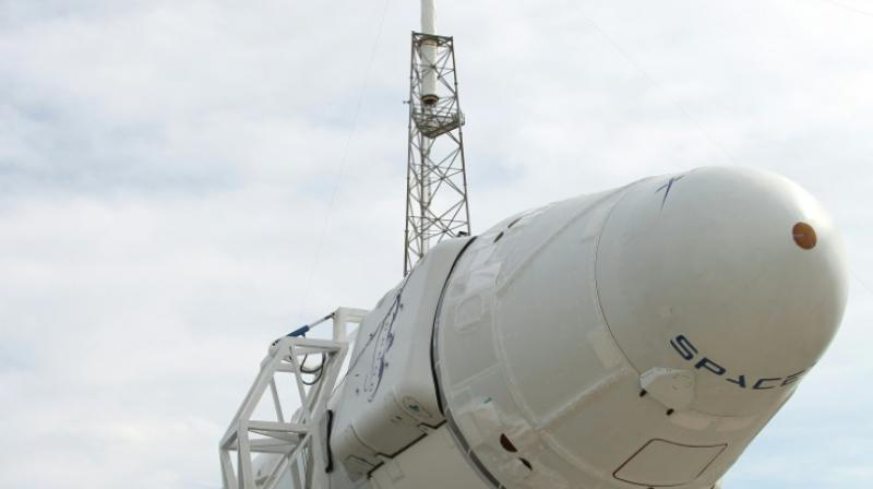 The Dragon cargo capsule, seen attached to a Falcon 9 rocket, both made by SpaceX, at Cape Canaveral in Florida