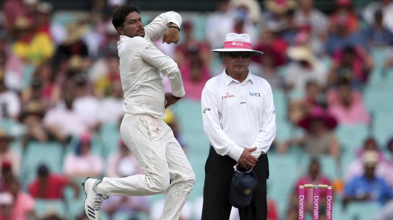 Kuldeep Yadav struck thrice as India put Australia under pressure on Day three of the fourth and final Test in Sydney. (Photo: AP)