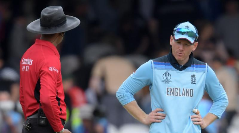Kumar Dharmasena was also in focus during the semi-final clash between England and Australia. (Photo: AFP)