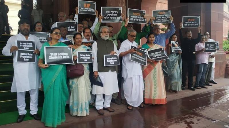 On July 8, the TMC MPs walked out of Rajya Sabha protesting against the Centre's decision to disinvest 42 Public Sector Undertakings (PSUs) and opposed the government's move in Lok Sabha. (Photo: ANI Twitter)