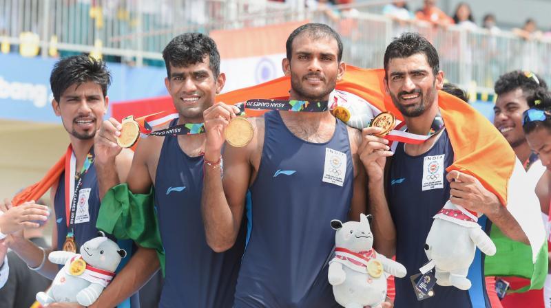 The team comprising Sawarn Singh, Dattu Bhokanal, Om Prakash and Sukhmeet Singh clocked 6:17.13 to win the gold medal in men's quadruple sculls. (Photo: PTI)