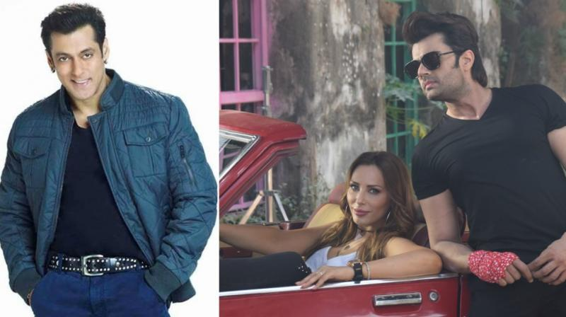 Salman Khan in a photoshoot, Maniesh Paul and Iulia Vantur in a still from the music video.