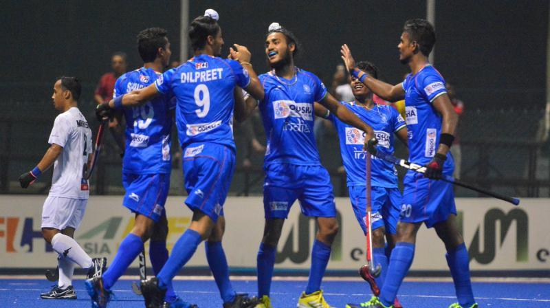 Pratap Lakra (19', 33'), Shilanand Lakra (39') and Uttam Singh (60') scored for India. (Photo: Twitter/ Hockey India)