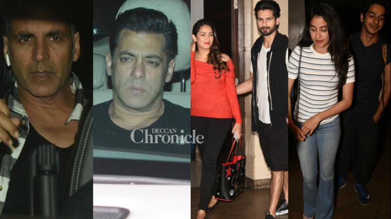 Bollywood stars turned up for separate screenings of the films 'Tiger Zinda Hai' and 'Beyond the Clouds' in Mumbai on Thursday. (Photo: Viral Bhayani)