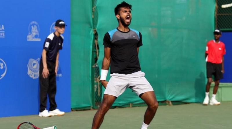 Indian tennis player Sumit Nagpal moved two places up and achieved his career-best 127th spot in the latest Association of Tennis Professional (ATP) men's singles rankings released on Monday. (Photo: DC File)