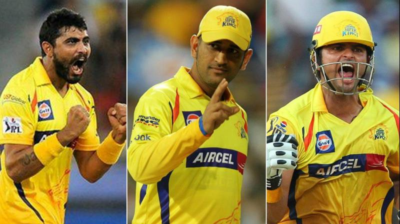 Messages started to pour in on Twitter to welcome MS Dhoni,Suresh Raina and Ravindra Jadeja in yellow colours. (Photo: DC file)