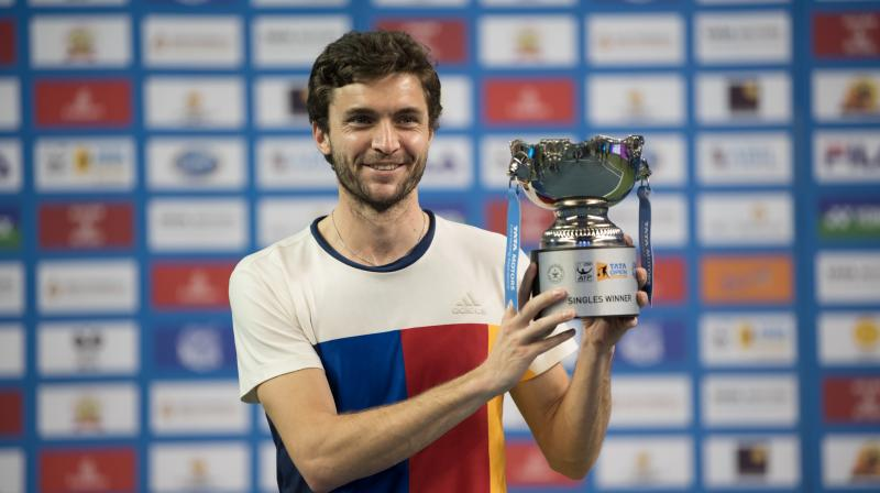 : It was first-time lucky for unseeded Frenchman Gilles Simon who beat South Africa's Kevin Anderson 7-6(4), 6-2 to lift the inaugural Tata Maharashtra Open at Balewadi Sports Complex in Pune on Saturday.(Photo: PTI)