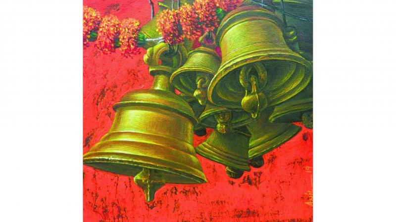 Artist Anil Kumar Yadav, whose work showcases the vibrant hues of village life, complete with flowers and bells all ready for a festive occasion.