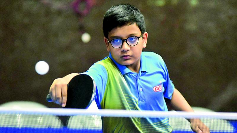 Dhuv Sagar plays a shot on way to winning the Cadet Boys final at the Dr M. V. Sridhar Memorial State Ranking Table Tennis Tournament in Hyderabad.