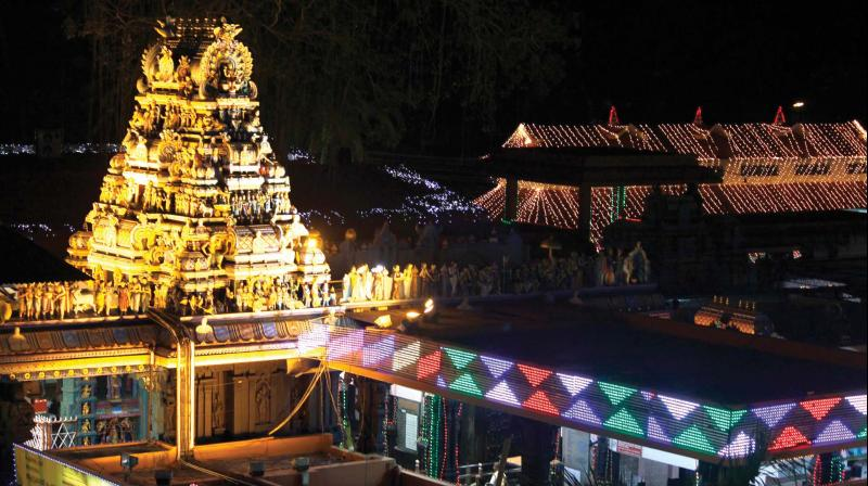 The illuminated Attukal Bhagavathi temple on the eve of commencement of Pongala festival. (Aromal Jayachandran)
