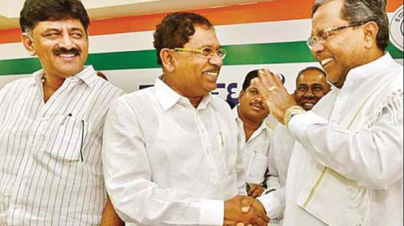 A file photo of former deputy chief minister G. Parameshwar with CLP leader Siddaramaiah at a meeting of KPCC in Bengaluru