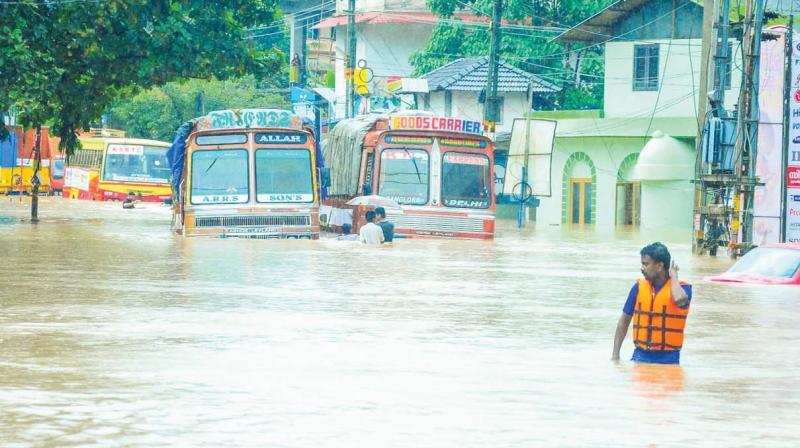 A submerged road in Nilambur, Malappuram.