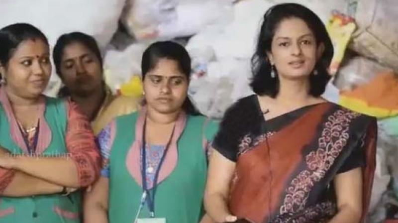 A screengrab of Dr K. Vasuki wearing the reused saree