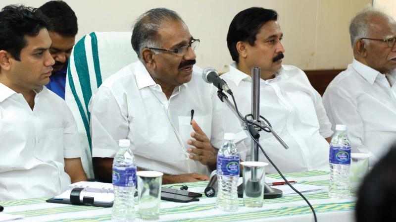 Transport Minister A.K. Saseendran, Hibi Eden, MLA, Abdul Rehman, MLA and C.K. Nanu, MLA, during the public hearing on proposed Kochi Metropolitan Transport Authority in Kochi on Saturday