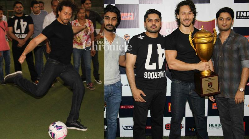 Tiger Shroff was at his sporting best as he launched a football tournament Super Soccer in Mumbai on Sunday. (Photo: Viral Bhayani)