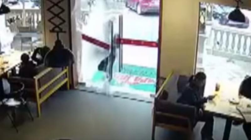 Haste Makes Waste Rushing Deliveryman Walks Through Glass Door
