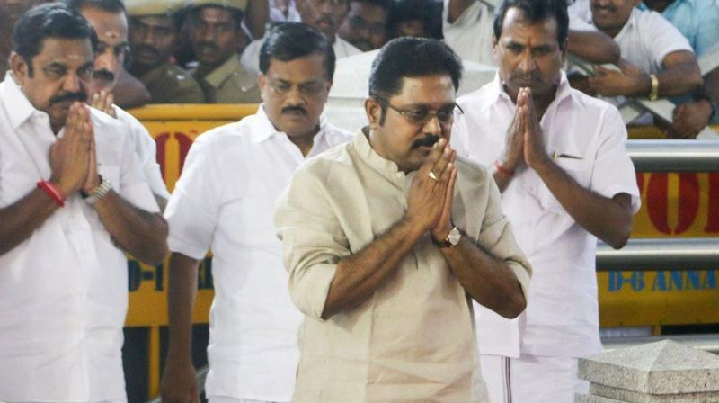 The TTV Dhinakaran faction of the AIADMK met Governor CH Vidyasagar Rao on Tuesday and demanded the removal of Tamil Nadu Chief Minister E Palanisamy. (Photo: PTI)