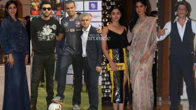 Mayor of London Sadiq Khan arrived in the city and was snapped at a football event as well as a bash with Bollywood celebrities later in the day. (Photo: Viral Bhayani)