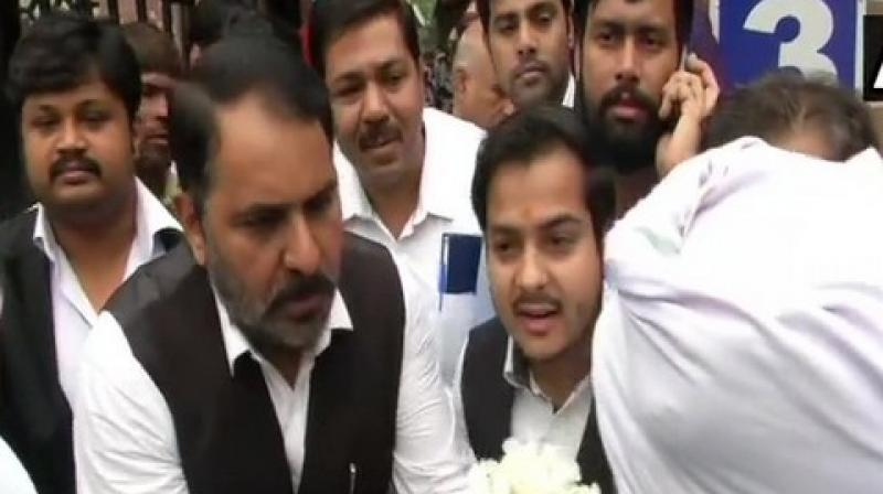 A clash had broken out on November 2 between lawyers and cops over an alleged parking issue at Tis Hazari court in which several police officials and lawyers were injured. (Photo: ANI)