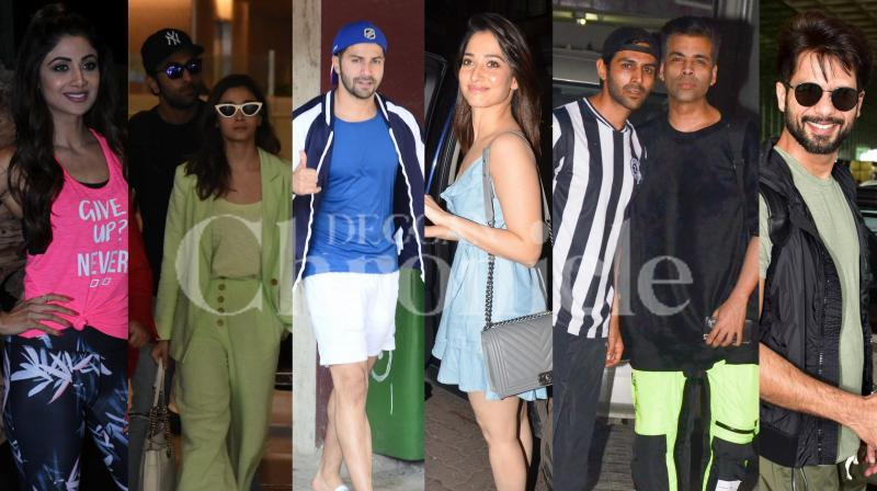 Bollywood stars Ranbir Kapoor-Alia Bhatt, Kartik Aaryan, Karan Johar, Shilpa Shetty, Varun Dhawan and others were spotted in the city. (Pictures: Viral Bhayani)
