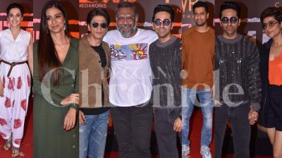 Ahead of it's theatrical release, the makers of 'Article 15' organised a special screening of the film for Bollywood celebrities on Wednesday night. Those who came to watch the Anubhav Sinha directorial included Shah Rukh Khan, Vicky Kaushal, Tabu, Neena Gupta, Swara Bhasker, Taapsee Pannu and many others. (Pictures: Viral Bhayani)