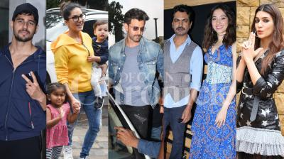 Bollywood stars Parineeti Chopra, Sunny Leone, 'Super 30' actor Hrithik Roshan, 'Arjun Patiala' stars Kriti Sanon-Diljit Dosanjh, Esha Gupta and others were spotted in the city. (Photos: Viral Bhayani)