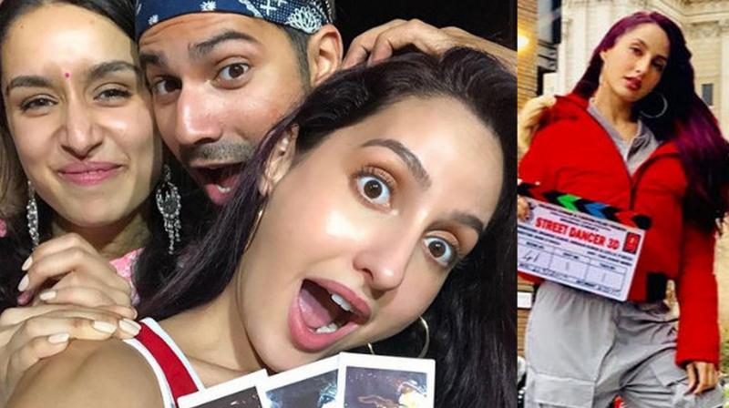 Nora with Varun Dhawan and Sharaddha Kapoor. (Photo: Instagram)