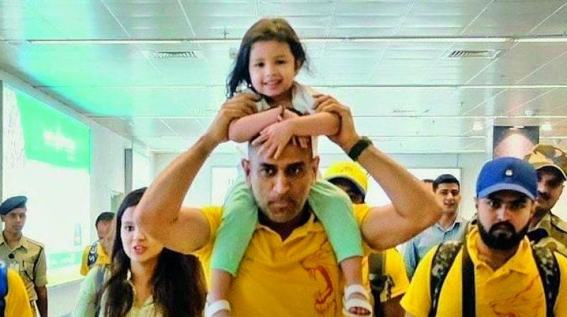 M.S. Dhoni with  daughter Ziva