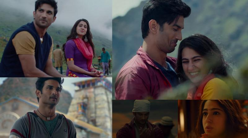 Sushant Singh Rajput and Sara Ali Khan in the screengrabs from Kedarnath trailer. (YouTube/ RSVP movies)