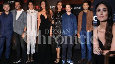 Netflix roped in some of the biggest stars in the Bollywood industry to dub the Hindi version of Hollywood film, 'Mowgli: Legend of the Jungle'. The Hindi version will feature Bollywood superstars including Anil Kapoor, Madhuri Dixit, Abhishek Bachchan, Kareena Kapoor Khan and Jackie Shroff. Along with the Bollywood stars, the trailer launch was also attended by Christian Bale, Frieda Pinto and Andy Serkis. Check out the pictures from the launch. (Photos: Viral Bhayani)