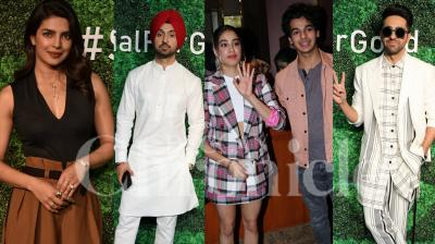 Priyanka Chopra recently teamed up with Facebook for the #SocialForGood Live-Athon, a unique social media-powered event that aims to drive social change and inspire people to do good. The event took place in Mumbai on Tuesday, in the presence of several other Bollywood personalities like Diljit Dosanjh, Ayushmann Khurrana, Ishaan Khatter and Janhvi Kapoor. (Photos: Viral Bhayani)