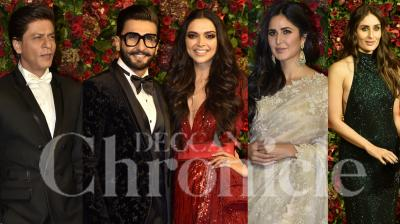 Newlyweds Ranveer Singh and Deepika Padukone hosted their third wedding reception on December 1, their second in Mumbai, for their industry friends and other members of the film fraternity. The glitzy reception, held at the Grand Hyatt hotel, was attended by everyone, from senior members such as Amitabh Bachchan with family, Rekha, Anil Kapoor, to Bollywood A-listers Katrina Kaif, Kareena Kapoor Khan, Janhvi Kapoor, Shah Rukh Khan, Rani Mukerji, Varun Dhawan, Sanjay Leela Bhansali and many more. (Photos: Viral Bhayani)
