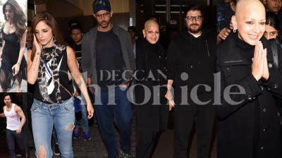 Sonali Bendre, who is back in Mumbai from the US, was spotted exiting the airport early morning on Monday. Hrithik Roshan took time out from his busy schedule to spend time with his family. Varun Dhawan, Yami Gautam, Tiger Shroff-Disha Patani and other celebs were also spotted in the city. (Photos: Viral Bhayani)